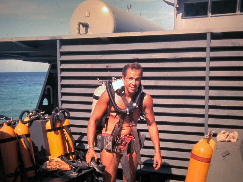Vern Clinton on Diving Barge Eniwetok